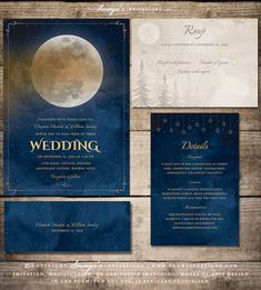 Moon Stars Wedding Invitation, Starry Night Wedding Invitation, Celestial Wedding Invitation, Galaxy Wedding Invitation, Astronomy Space Cosmos Wedding Invitation, Outdoor Wedding Invitation, Night Sky Wedding Invitation, Fairytale Wedding Invitation, Storybook Wedding Invitation, Pine Trees Forest Woods Wedding Invitation, Mountain Wedding Invitation by Soumya's Invitations #wedding #weddingideas #weddinginspiration #weddinginvitations #celestialwedding #starrynightwedding #moonwedding #bridal
