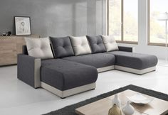 Sedací souprava do U DESIGNIA, 286x140, Mikrofáze, mikrofáze10_00 bílá, šedá/bílá Film, Couch, Furniture, Design, Home Decor, Elegant, Products, Ideas, Steel