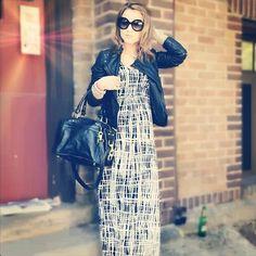 Zara Leather Jacket with maxi dress