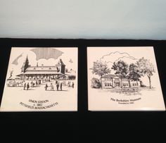 Pittsfield Massachusetts 6 X 6 Ceramic Tiles/Trivets 1882 Union Station & The Berkshire Museum, Commemorative Historical Sites, Cork Back by Sunshineoftreasures on Etsy