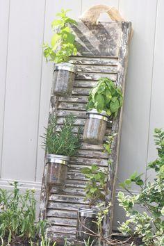 Recycled Shutter Mason Jar Herb Garden. $85.00, via Etsy.