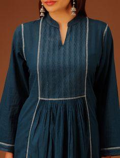 Buy Indigo Embroidered Yoke Panelled Flared Cotton Kurta SALE shop child products Online at Jaypore.com