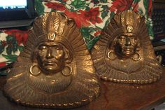 19th. Century Native American Indian Chief in Headdress Guilded Bronze Bookends