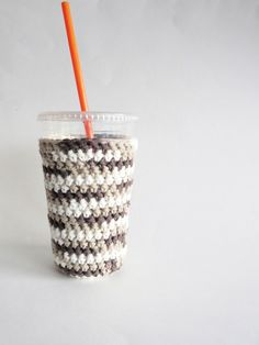 New to SalemStyle on Etsy: iced coffee cozy. Crochet coffee cozy. Brown cup cozy. Cotton cup sleeve. Eco friendly cup jacket. Summer drink cozy. Brown Ombre Cup Sleeve (10.00 USD)