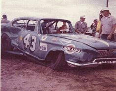 Richard petty crashed car from the past. Number 43. not looking so good!   #OLDSCHOOLNASCAR