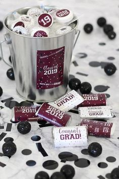 8e3f02479ff4c Maroon Graduation - 2019 Grad Party Mini Candy Bar Wrappers - 54 Count