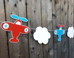 Airplane Party Garland  Baby Shower Birthday by BlueOakCreations