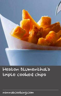 Heston Blumenthal's triple cooked chips | These chips are one of my proudest legacies! You see them on menus up and down the country now but the original recipe came out of endless experimenting at home long before I even opened the Fat Duck. The first secret is cooking the chips until they are almost falling apart as the cracks are what makes them so crispy. The second secret is allowing the chips to steam dry then sit in the freezer for an hour to get rid of as much moisture as possible…