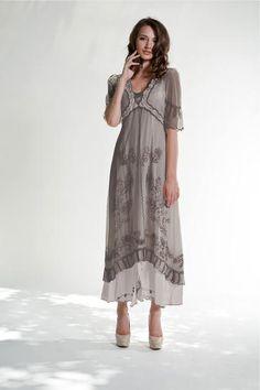 Nataya Dress Empire Style  40007 NWT Silver Ivory New Color  Sz S #Nataya