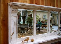 Wood - Mirror - Shelf - Shabby Cottage - Large - Chic Furniture - Rustic Home Decor - Statement Piece - Entryway Furniture  by honeystreasures on Etsy https://www.etsy.com/listing/96190409/wood-mirror-shelf-shabby-cottage-large