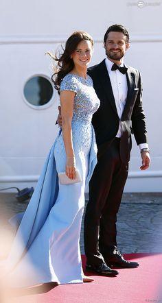 Le prince Carl Philip de Suède et Sofia Hellqvist - Arrivées au dîner à bord du S/S Stockholm la...