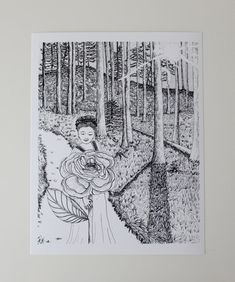 """""""Enchanted Forest"""" Art Print by Sarah Getchell, via Gate Hill Prints on Etsy. Pen and ink drawing."""