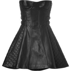 BALMAIN Leather Bustier Dress in Black (3 855 BGN) ❤ liked on Polyvore featuring dresses, vestidos, balmain, short dresses, leather bustier, leather dress, black bustier and black dress