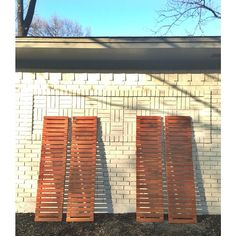 "60"" modern slatted house shutters going to a great local home! ramp up your facade with something special and make the neighbors jealous.  #sunscout #handmade #woodwork #woodworker #slats #shutters #mcm #midcentury #dallas"