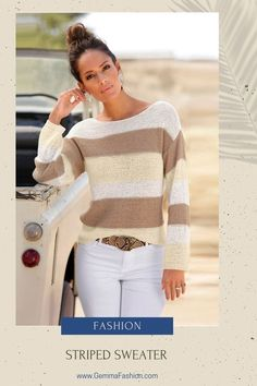 😍 STRIPED SWEATER The perfect piece for shifting between seasons, this lightweight knit is exactly what you'll want to reach for when a cool breeze rolls through. Featuring classic color-block stripes, this relaxed-yet-refined boat neck sweater is a timeless wardrobe staple. #Fashion #StreetStyle #Casual #casualstyle #sweater #sweaterweather #outfit #womenswear #womensclothing #clothing #clothes #shoppingonline #chic Material Girls, Sweater Weather, White Jeans, Women Wear, Plus Size, Street Style, Fashion Outfits, Clothes For Women, Stylish