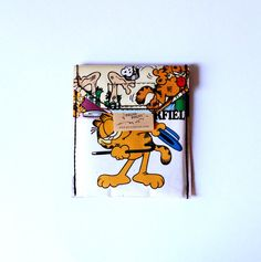 GARFIELD cardpouch comic upcycling one of a kind from PauwPauw on Etsy
