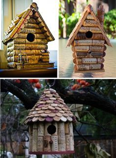 Definitely for the more advanced crafters, but how cool are these wine cork bird houses? Wine Craft, Wine Cork Crafts, Wine Bottle Crafts, Diy Projects To Try, Crafts To Make, Fun Crafts, Craft Projects, Wine Cork Projects, Wine Cork Art