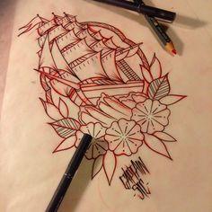 #flash #tattooflash #tattooart #sketch #draw #paint #traditional #tattoo #tattoos #traditionaltattoos #oldschool #ship #sale #sea #flower