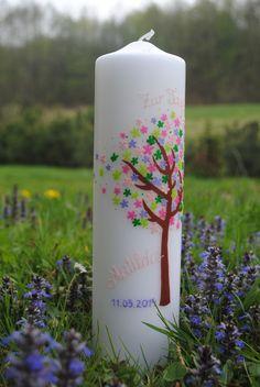 """Taufkerzen - Taufkerze """"Bunter Blütenbaum"""" - ein Designerstück von Haensel-und-Gretel-Candleart bei DaWanda"""