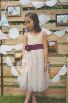 Champagne flower girl dress, Rustic flower girl dress, Lace flower girl dress, flower girls dress lace, ivory flower girl, blush flower girl