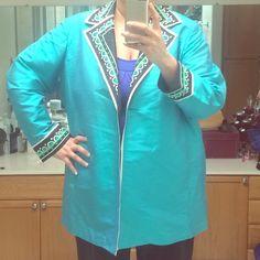 Bob Mackie wearable art jacket Bob Mackie designer oversized silk jacket in a beautiful turquoise color. Sz 2x Bob Mackie Jackets & Coats Blazers