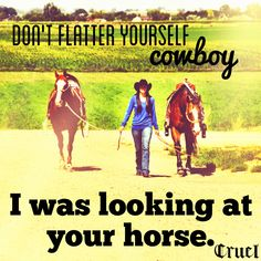Don't flatter yourself, cowboy, I was looking at your horse.