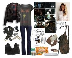 """""""Supernatural, Pilot S1: E1"""" by sarahslaughter ❤ liked on Polyvore featuring 7 For All Mankind, Timberland, DAY Birger et Mikkelsen, Alexander McQueen, Episode and Hershey's"""