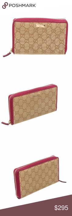 Gucci Beige Gold Monogram Pink Zipper Wallet Overall zipper closure. Interior is leather lined contains twelve credit card slip pockets, one zipper coin pocket and three compartments. Shop AUTHENTIC Gucci wallets at MARQUE SUPPLY COMPANY.  1234 RC Gucci Bags Wallets