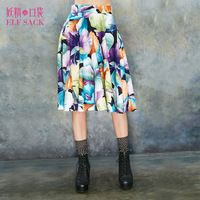 ELF SACK fashion brand new arrival 2015 spring womens casual vintage flower pattern big bottom pleated bust skirt free shipping