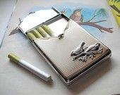 Metal Cigarette Case Birds Vintage Style Victorian Steampunk Silver Metal Retro Case