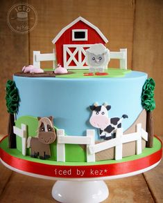 """114 Likes, 11 Comments - kez* (@icedbykez) on Instagram: """"This cute farm cake was made for an Early Childhood Centre celebrating their 15th Anniversary the…"""""""