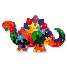 Buy this wooden dino jigsaw puzzle - This vintage-feel dino jigsaw is a great introduction to problem solving for hands-on kids - natural cotton bag included, to help you store your puzzle - from the Natural History Museum online shop Dinosaur Alphabet, Dinosaur Toys, Wooden Jigsaw Puzzles, Wooden Animals, Scroll Saw Patterns, Puzzles For Kids, Wood Toys, Educational Toys, Diy And Crafts