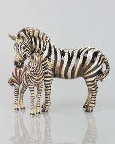 Tabitha & Zane Mother and Baby Zebra Figurine by Jay Strongwater at Neiman Marcus.