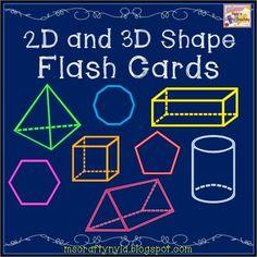 2D and 3D Shape Flash Cards $ #math