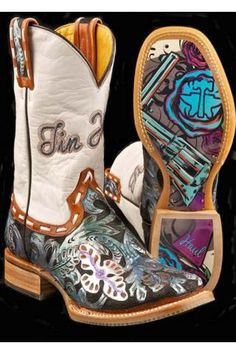 Women's Blue Guns And Roses Tin Haul Womens Boots Western Wear