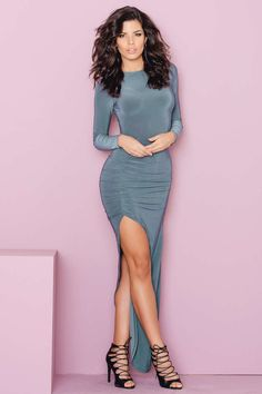 79b67943fc Slinky Ruched Gathered Long Sleeve Dress