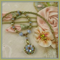 Beadwoven, Beaded, Beadwork, Crystal Fairy Flower Necklace...  talent