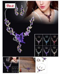 Ethnic Bridal Crystal Butterfly Flower earring Necklace #Jewelry Set  #onlineshopping http://krat.im/6co