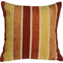 Pillow Decor - Savannah Stripes 20x20 Yellow Orange Chenille Throw ...