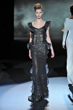 Fashion Week 2013 Prettiest Dresses via @Refinery29 - stunning gunmetal Badgley Mischka full length gown {I swoon}