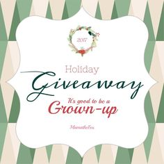 New giveaway! It's Good To Be A Grown Up(US) ends 12/16 ~ 2 winners; enter to win at http://crtvlsy.ca/2iEyHPn
