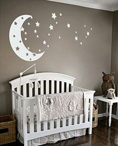 Baby room ideas for decorating the nursery walls - Moon and stars neutral baby nursery theme idea - baby boy nursery theme - love you to the moon and back! Baby Boy Nursery Themes, Baby Boy Room Decor, Star Nursery, Baby Bedroom, Baby Boy Rooms, Baby Boy Nurseries, Nursery Room, Girl Room, Room Baby