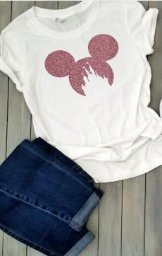 4ec79ddb4 **Glitter Minnie Castle Unisex Shirt *** Shirts available in black, white