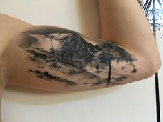 Tattoo of mountains (Slovakia, High Tatras, Tatranska Lomnica (Lomnicke sedlo, Lomnicky and Kezmarsky stit)