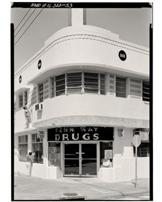 #FunFactFriday - A picture of a Penn Way Drug Store in Miami Florida known for its Streamline Deco style. Photo is undated but the building is still used today as a restaurant. Streamline Moderne is the second phase of Art Deco. It began with the stock market crash and ended in most cases with the outbreak of World War II. It was less decorativea more sober reflection of the Great Depression. It relied more on machine-inspired forms and American ideas in industrial design. #Miami…