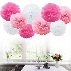 24PCS Tissue Paper Pom Poms Flower Balls Wedding Party De...