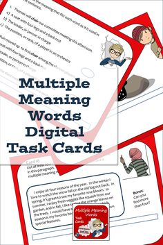Multiple meaning words - practice this vocabulary skill with digital task cards, made for Google slides. Language arts activity for middle school and upper elementary classes of individual students. Fun Classroom Activities, Vocabulary Activities, Teaching Writing, Writing Skills, Multiple Meaning Words, Middle School Writing, Thing 1, Upper Elementary, Task Cards