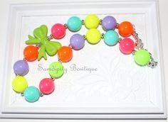 Neon Rainbow Chunky Bubblegum Bead Necklace by SamdipityBowtique, $21.95