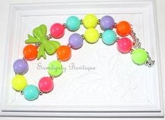 Neon Rainbow Chunky Bubblegum Bead Necklace by SamdipityBowtique, $21.95