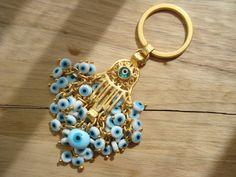 White Evil Eye Beaded Hamsa Charm Keychain